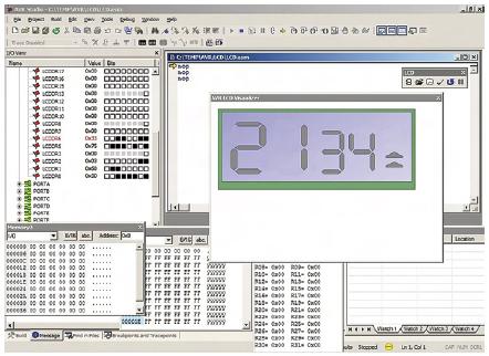 Figura 4. Simulazione dell'LCD in AVR Studio