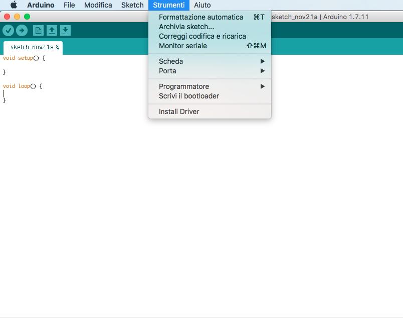 Figura 1: Arduino IDE. Nel menù strumenti è visualizzato l'opzione Monitor seriale