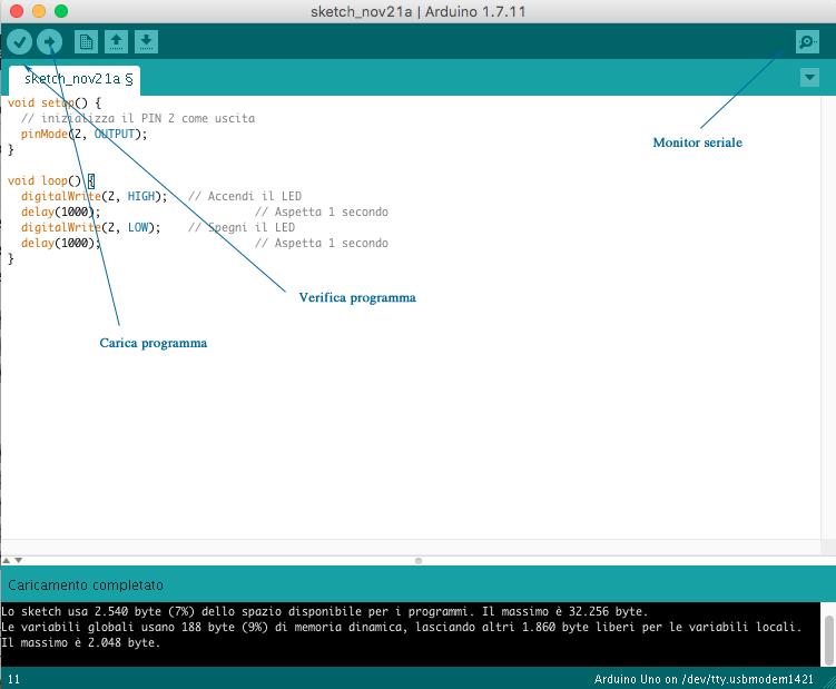 Figura 5: L'IDE di Arduino per la programmazione