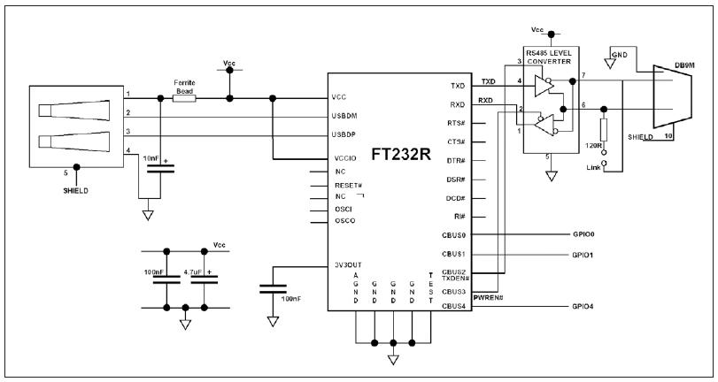 Figura 1: schema del convertitore USB/RS-485