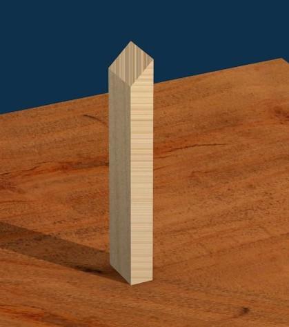 Figura 2; Il taglio a 45° per la base.