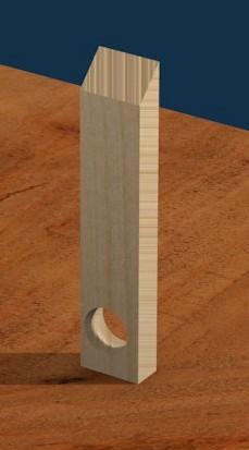 Figura 3: Il foro da 3,5 cm. per l'alloggiamento della bottiglia.