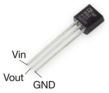 Figura 3: Il sensore di temperatura TMP36GT9Z.