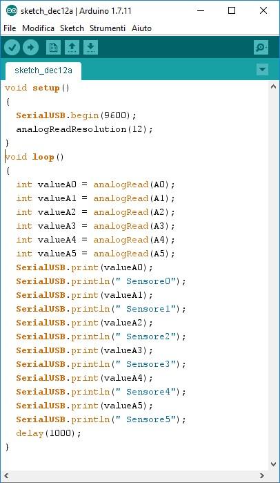 Figura 8: Lo sketch di Arduino.