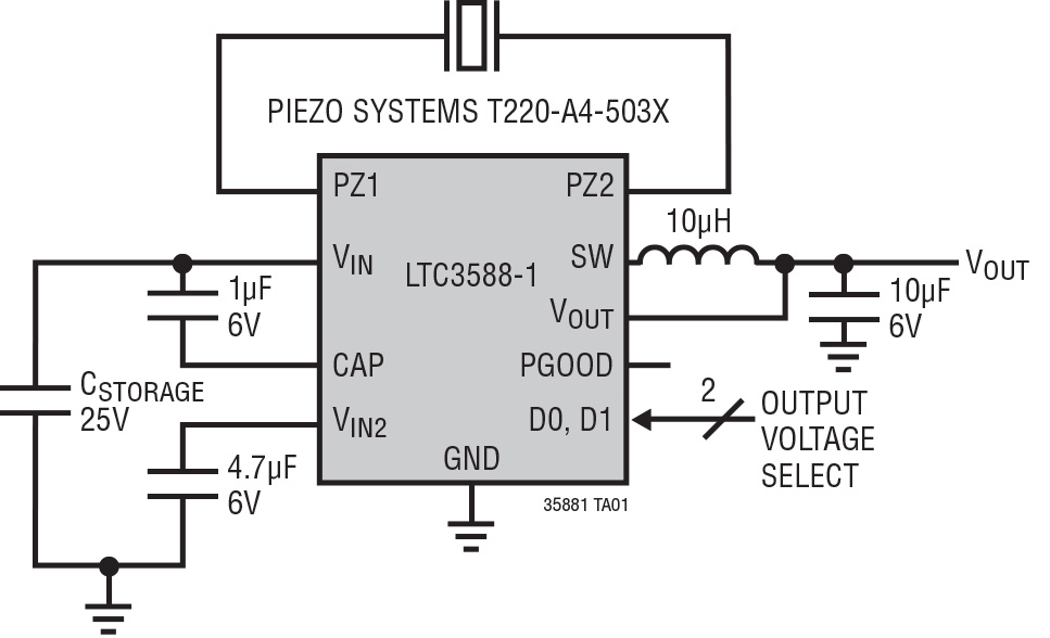 Figura 1. Soluzione completa per l'accumulazione di energia, ottimizzata per generatori a elevata impedenza, come trasduttori piezoelettrici