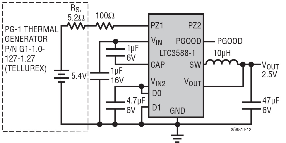 Figura 4. Sistema per l'energy harvesting basato sull'effetto Seebeck