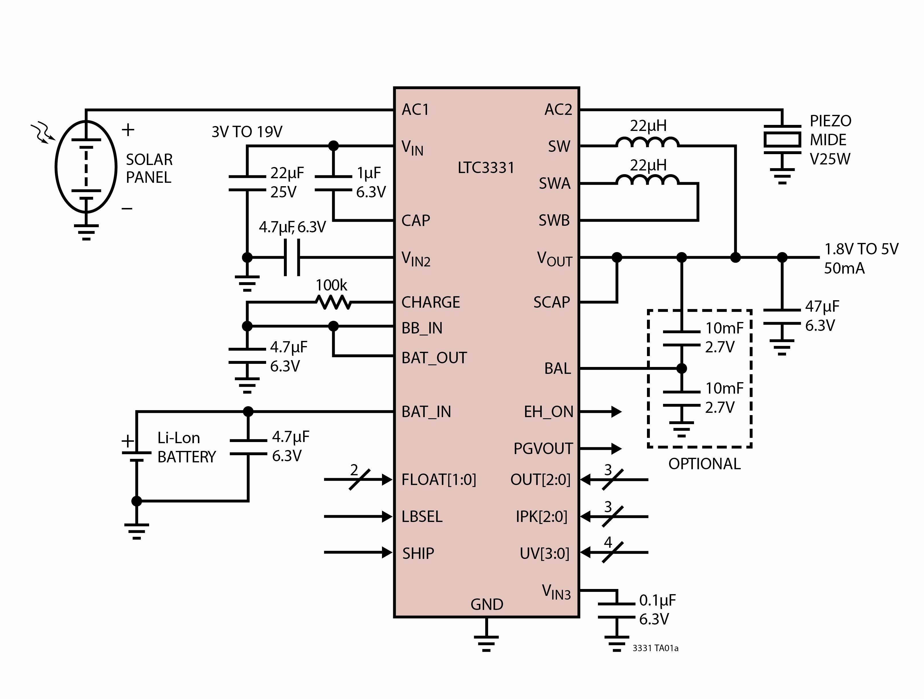 Figura 1. Circuito integrato LTC3331 per energy harvesting e prolungamento della durata della batteria