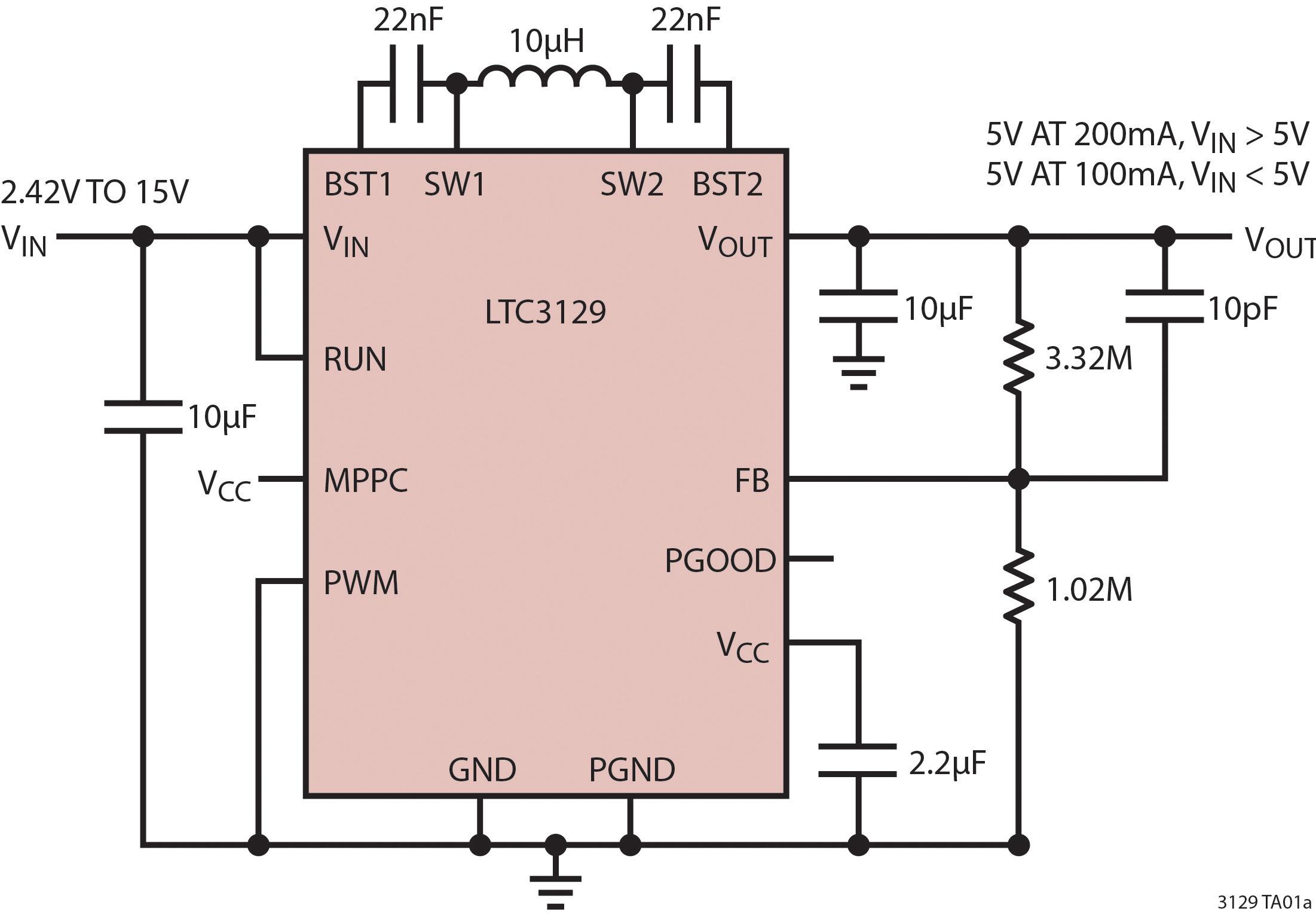 Figura 2. Convertitore buck-boost da 15V e 200mA LTC3129