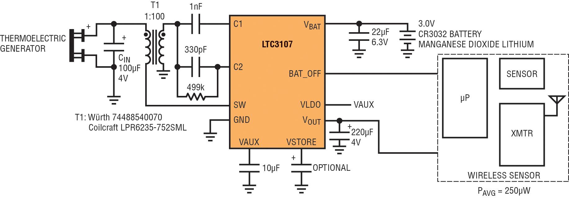 Figura 2. Sistema con sensore wireless dotato di batteria e del circuito per l'energy harvesting termica basato su LTC3107