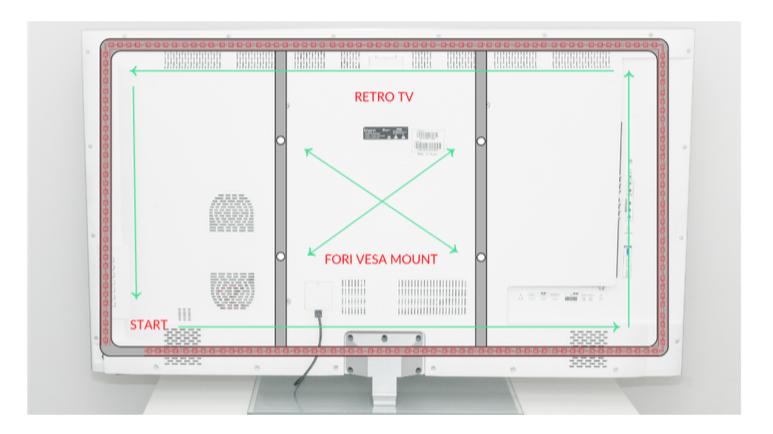 Figura 3: I fori VESA e le strisce LED
