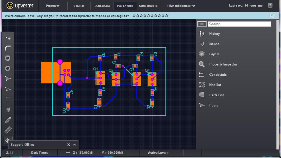 Figura 4: PCB layout realizzato con Upverter