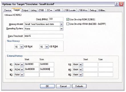 Figura 7. La finestra Options for Target consente di impostare il tipo di micro controller e tutte le relative impostazioni