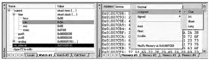 Figura 11. La finestra Watch e Memory mostrano il valore di variabili e di aree di memoria. Tramite il menu contestuale è anche possibile modificarne il valore