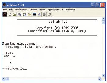 """Figura 2. La finestra principale di Scilab, in cui si possono effettuare calcoli complessi e da cui può essere richiamato Scicos tramite il comando """"scicos();"""""""