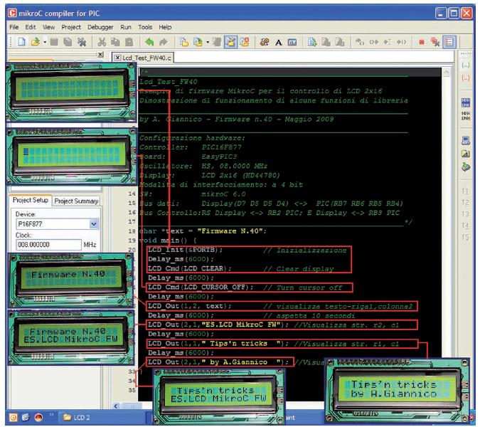 Figura 2: esempio di Firmware MikroC per il controllo di un LCD 2x16.