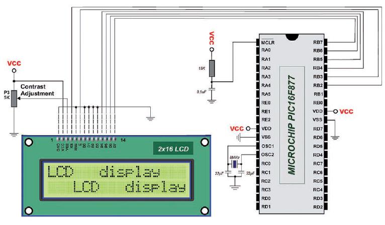 Figura 1: schema Elettrico di interfacciamento a 4 bit PIC-LCD 2x16 Hitachi HD44780.