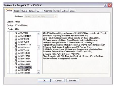 Figura 5. La schermata mostrata consente la selezione di oltre 700 dispositivi programmabili