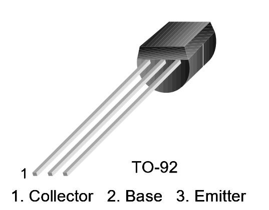 Figura 1: Il pinout del transistor BC547.