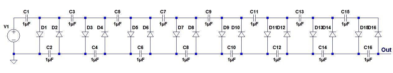 Figura 3: Schema di principio del moltiplicatore di tensione.