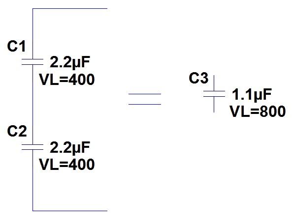 Figura 4; Due condensatori da 2.2uF e 400VL collegati in serie corrispondono a un condensatore da 1.1uF e 800VL.