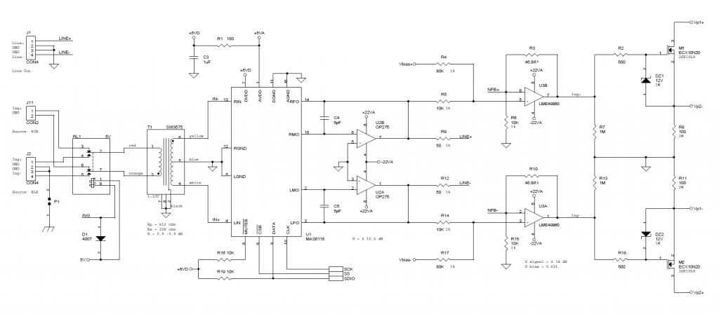 Schema dello stadio di amplifcazione.