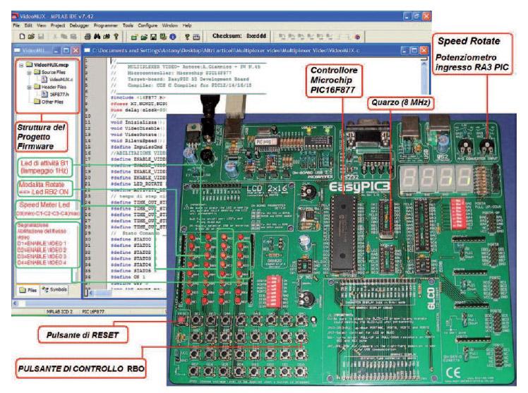 Figura 3: il progetto firmware nell'interfaccia IDE MPLAB e la scheda di sviluppo EasyPic3 per il test hardware e firmware del progetto