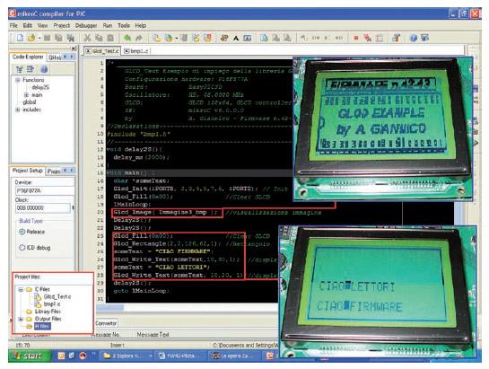 Figura 4: esempio di Firmware MikroC per il controllo di un GLCD 128x64 KS0108