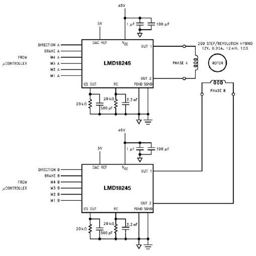 Figura 9: un microcontrollore pilota un motore utilizzando l'integrato LMD18245.