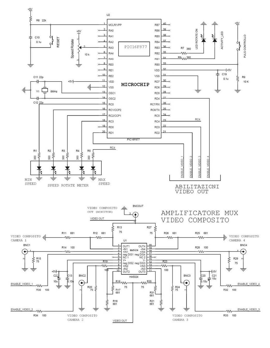 Figura 2: schema elettrico del Multiplexer Video-composito. La funzione di multiplexer è ottenuta attraverso l'integrato video HA5024 pilotato dal controllore.