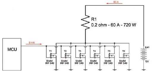 Figura 5: un microcontrollore pilota un carico resistivo di ben 60 A utilizzando tanti Mosfet in parallelo.