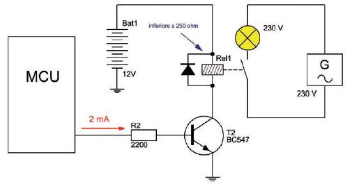 Figura 7: un microcontrollore pilota una lampada in AC a 230 V utilizzando un Relè (con transistor).
