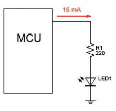 Figura 1: una porta di MCU che pilota direttamente un carico.