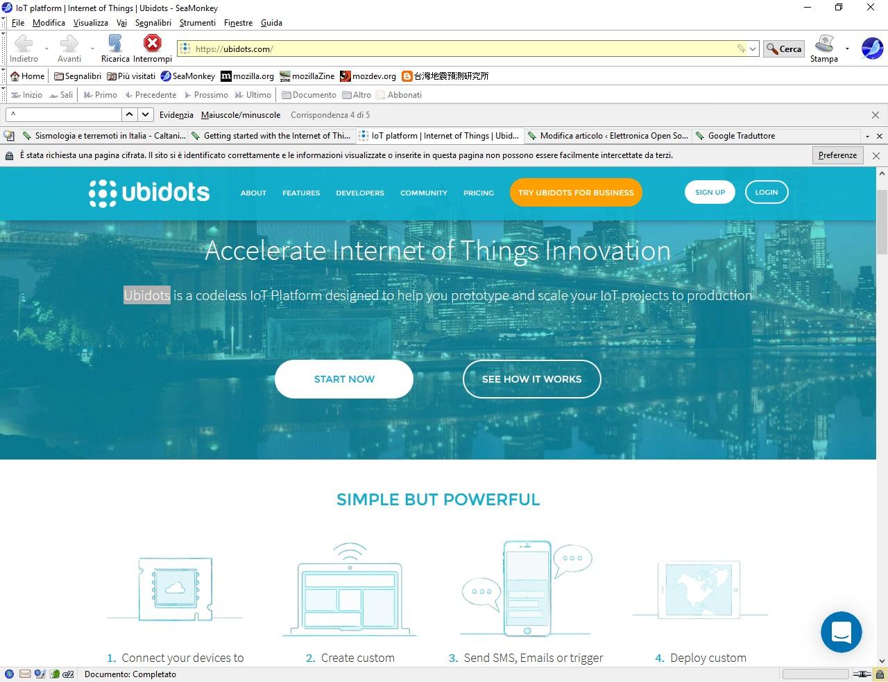 Figura 2: La Home page di Ubidots.