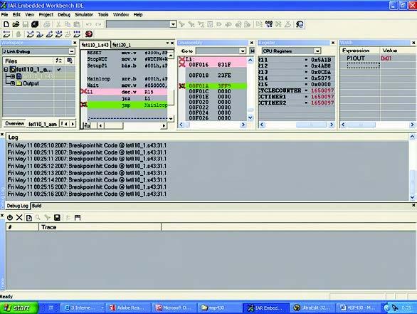 Figura 2. IAR Embedded Workbench al lavoro con il file del listato 1