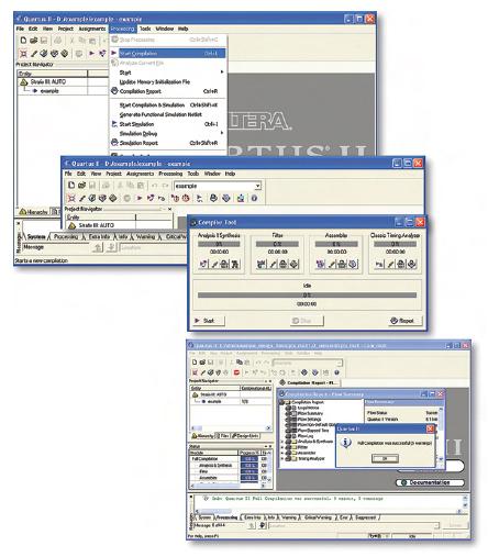 Figura 6. Per eseguire la compilazione del progetto è possibile usare tre differenti modi: menu Processing, il relativo tasto della toolbar oppure il menu Compiler Tool