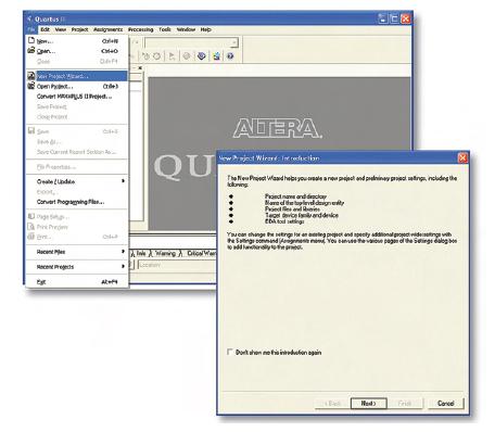 Figura 4. Per la creazione di un nuovo progetto con Quartus II è possibile usare il Wizard di configurazione. Esso semplifica notevolmente il processo di generazione del progetto