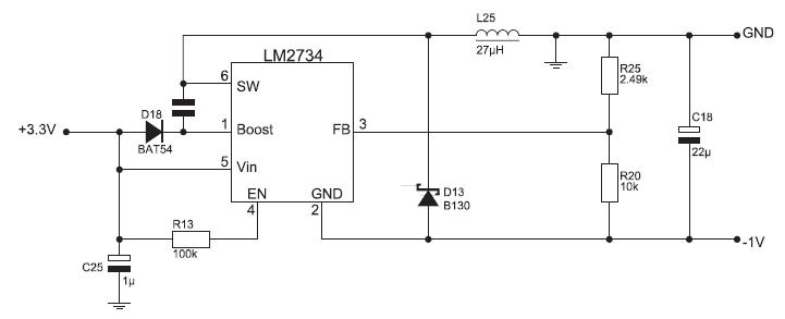Figura 5. Circuito per la generazione di una tensione negativa da utilizzare come back-bias di un FPGA