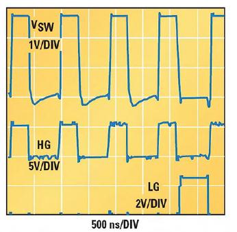 Figura 3. Forme d'onda di commutazione durante la salita monotonica della tensione di uscita