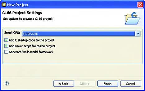 Figura 3. Project wizard - scelta del processore e codice di startup