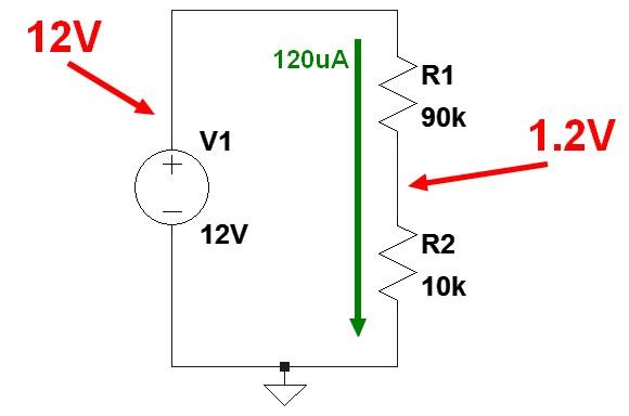 Figura 3: Il divisore per 10 per il monitoraggio della batteria dell'auto