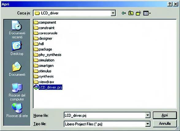 Figura 5: apertura del file di progetto LCD_driver.