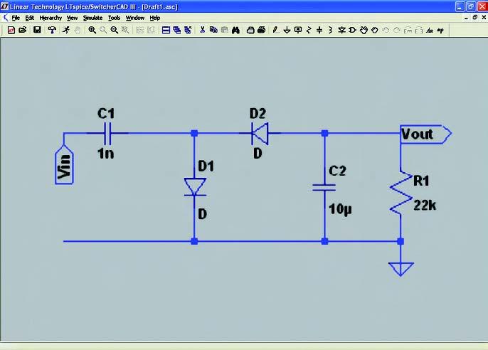 Figura 5: aspetto dello schematico coi componenti e i nodi principali.