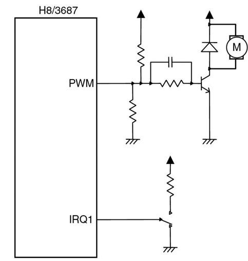 Figura 1: configurazione circuitale che consente di utilizzare il chip H8/300H per pilotare un motore brushless.