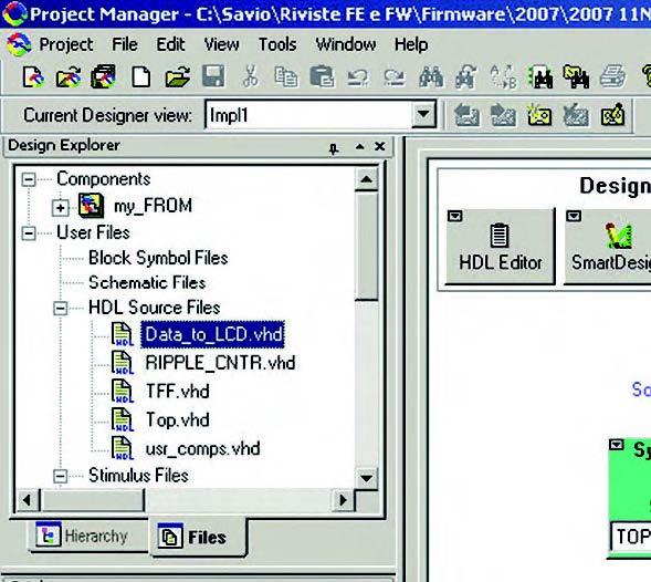 Figura 7: il tab Files riporta tutti i componenti ed i file utente utilizzati nel progetto.