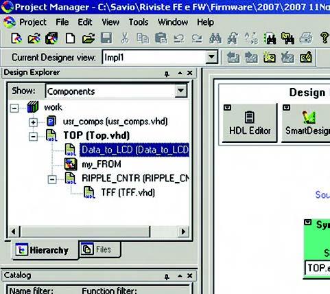 Figura 6: il tab Hierarchy riporta l'organizzazione gerarchica dei file VHDL del progetto.