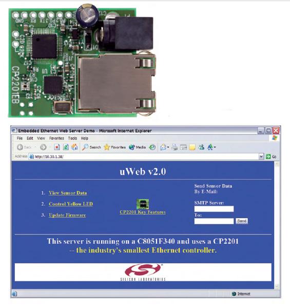 Figura 4: la scheda di valutazione del componente CP22xx e la home page del web server.
