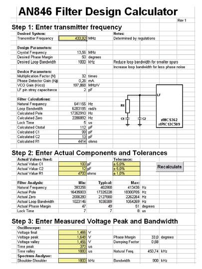 Figura 2: lo spreadsheet con i valori dell'esempio di calcolo del filtro PLL.