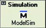 Figura 11: per avviare la simulazione pre-synthesis fare click sul pulsante Simulation nella finestra Design Flow.