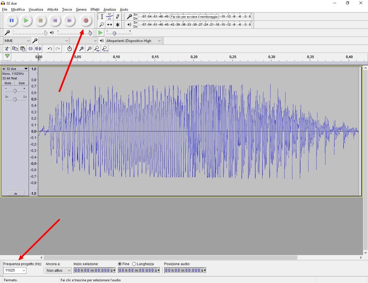 Figura 3: la registrazione della voce con Audacity