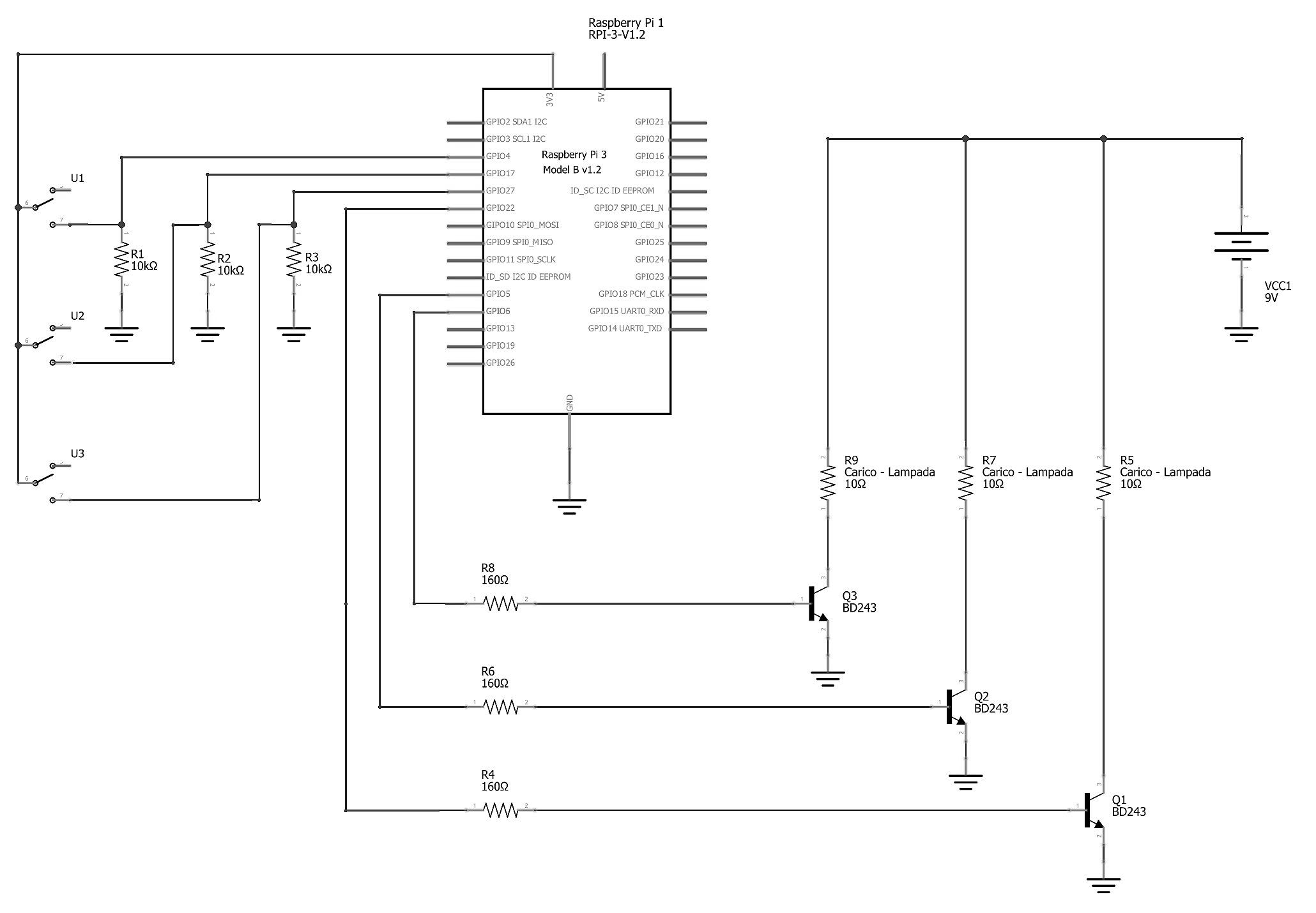 """Figura 3: schema elettrico dell'oggetto """"Quadro comandi"""" con tre interruttori"""